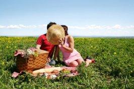 couple having a romantic picnic